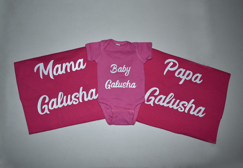 mama, papa and baby galusha shirts