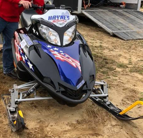 haynes racing blue decal on snowmobile