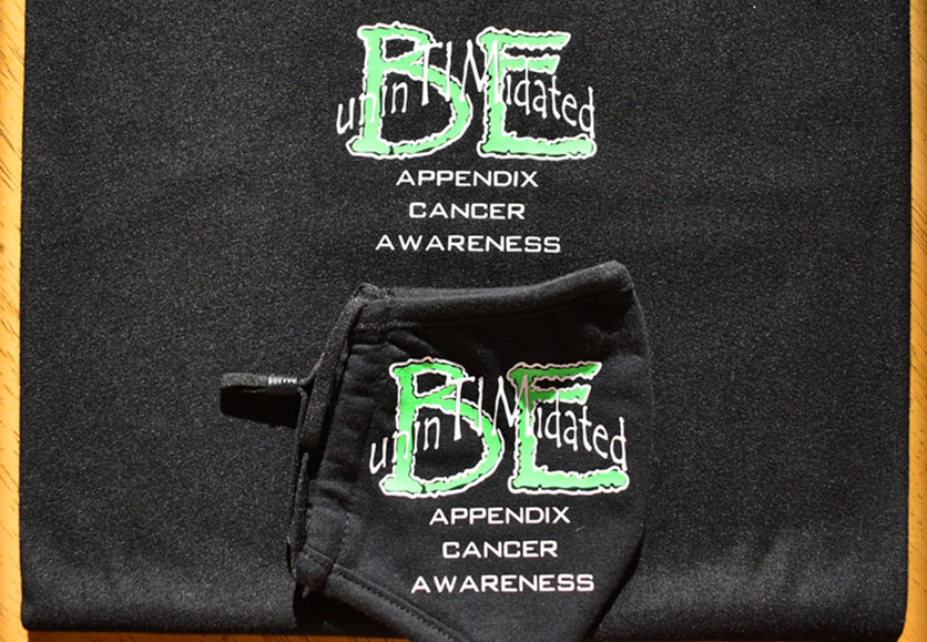 be intimidated appendix cancer awareness mask