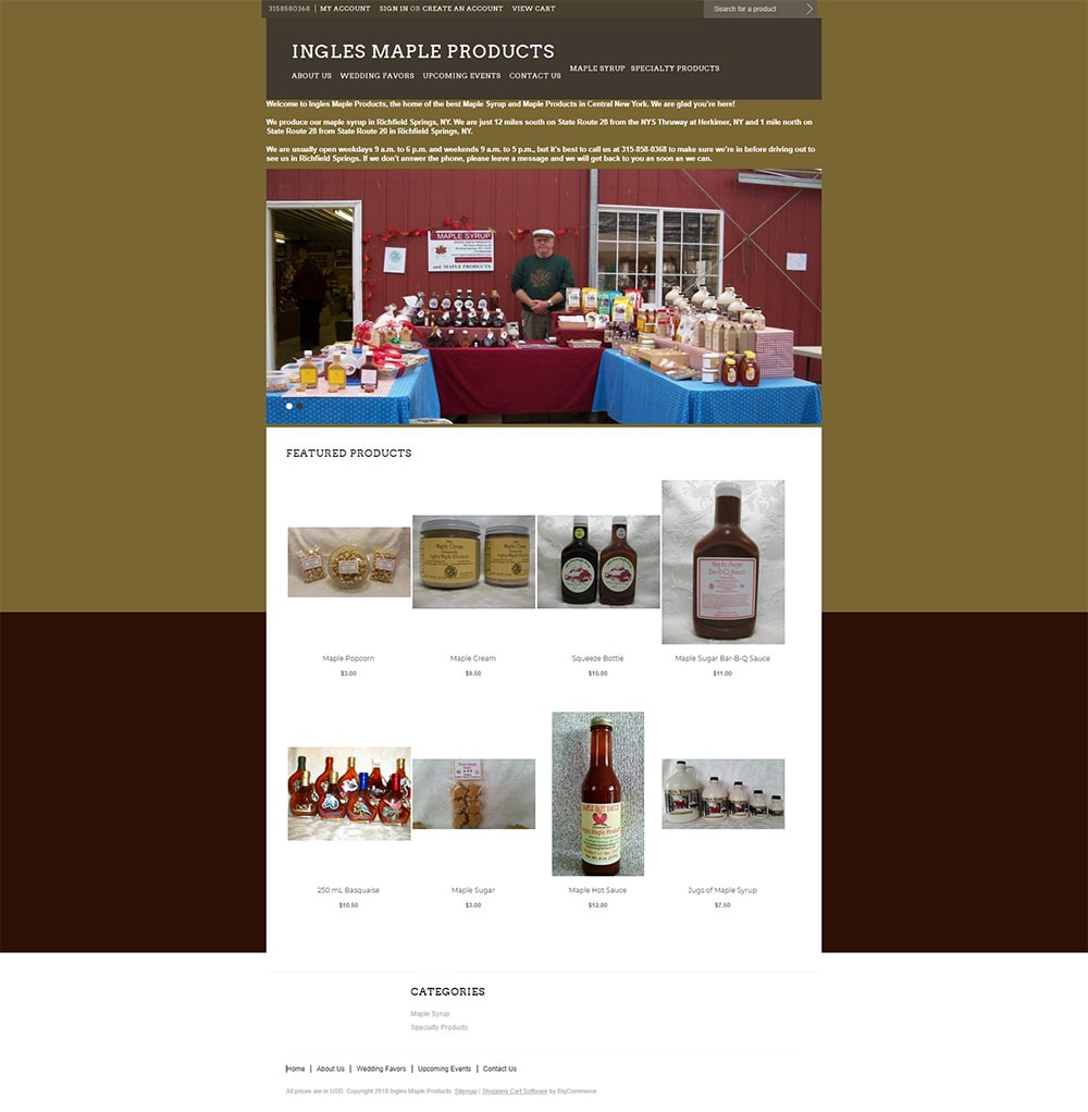 Ingles Maple Products Website